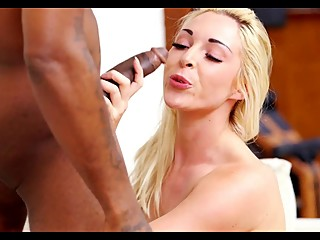Cuckold giving her blond wife her 1st big black cock